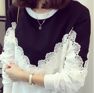 estilo de outono kN0ss coreano das mulheres T- solta de tamanho grande de gordura mm lace t-shirt camisola camisola camisa base de manga longa rendas costura longa das mulheres