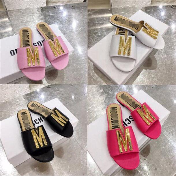 Moschiino Kadınlar Sandalet Yaz v Moda Katı Toka Ayaklı Sahil Casual Bayanlar Miller gg slayt Lüks tasarımcı Sandalet Kadınlar Ayakkabı Floplar