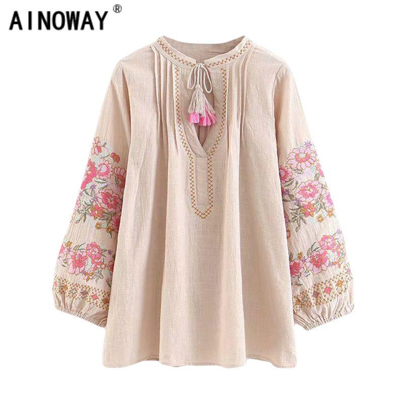 Mulheres Spring boêmio camisa borla bonito da praia de linho bordado floral camisa blusa de algodão incendiar blusas Boho soltas manga