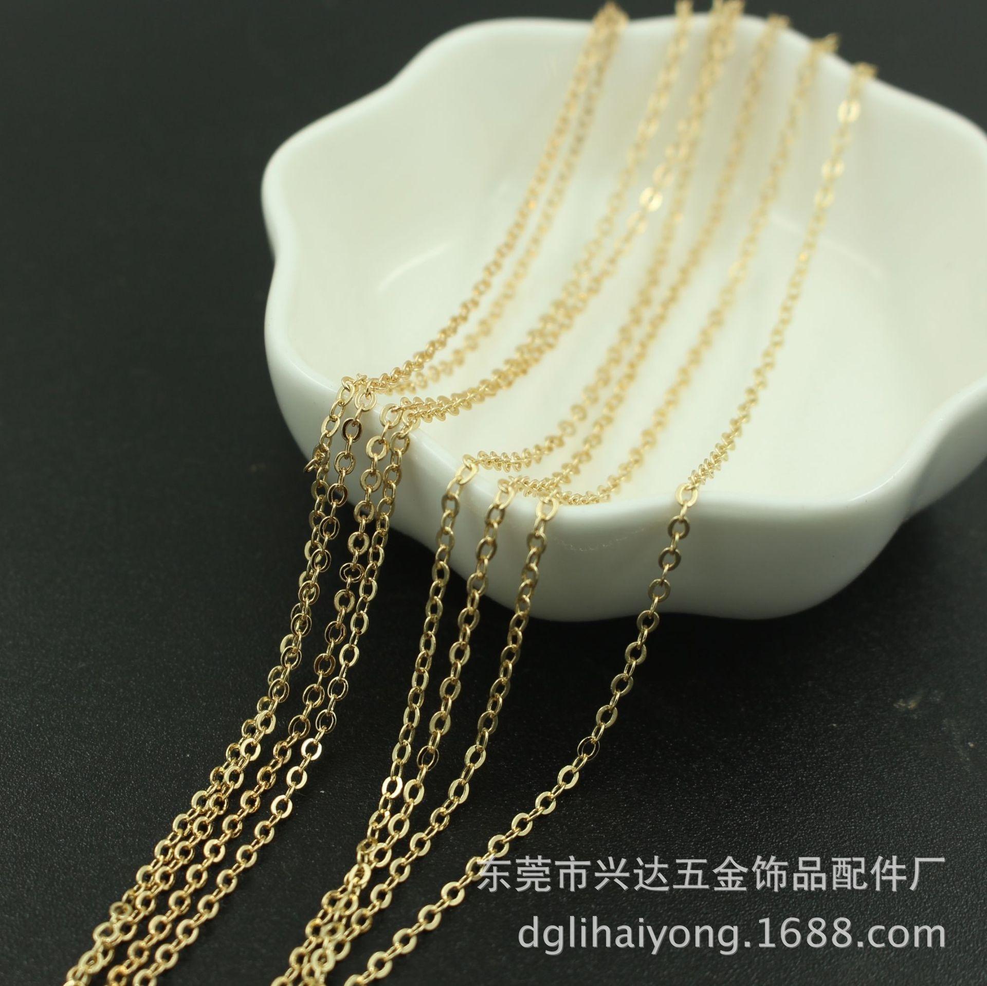 t6UA0 artesanal cor de ouro 2 / 1,5 milímetros ouro transversal hairpin de cadeia ó cor artesanais DIY achatado 2 / 1,5 milímetros achatada DIY acessórios Accessorie ZQvN5