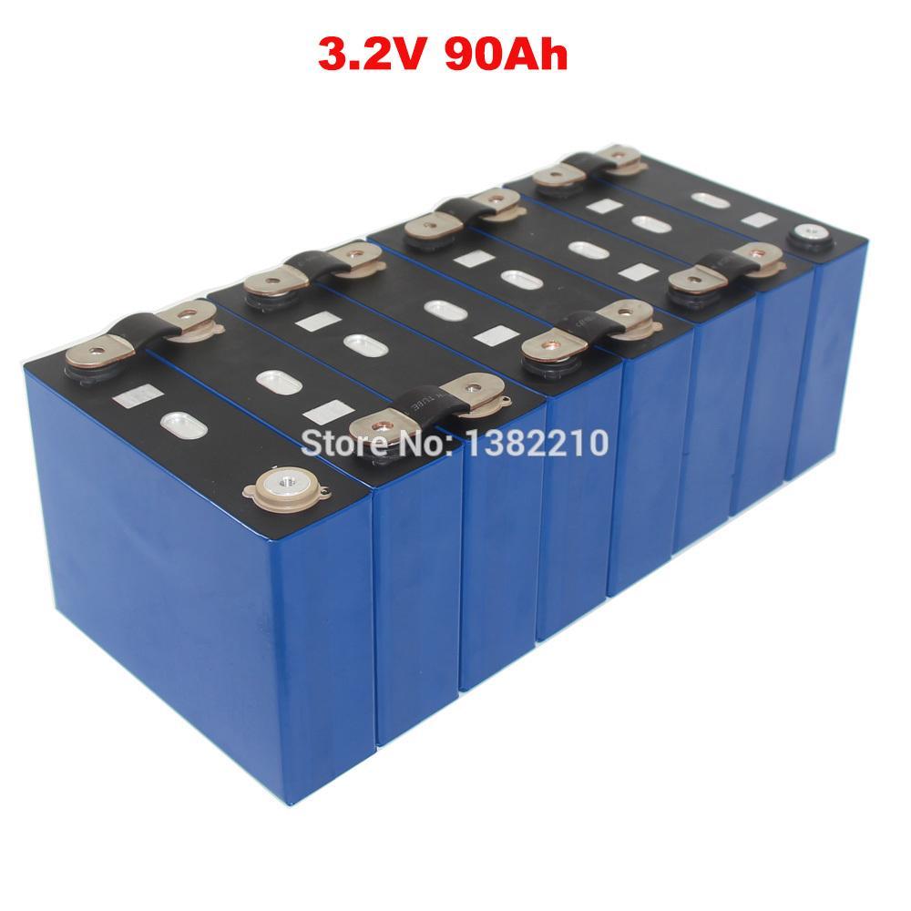 8PCS / Lot 3.2V 90Ah LiFePO4 prismatische Zelle Max 2C 180A Entlastung für EV Batterie-Satz mit BUS BARS