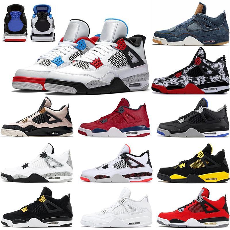 2020 Bred Gato Negro 4 4s zapatillas de baloncesto para hombre de las alas encore cemento blanco fuego individuales rojas zapatillas de deporte estilista IV formadores de dinero Pure