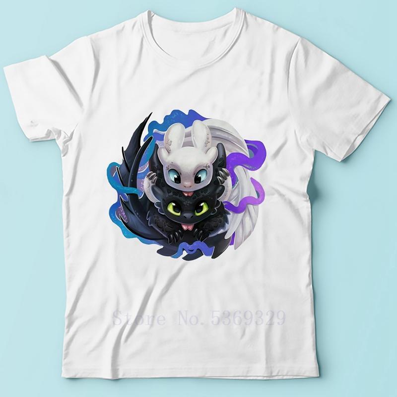 Cómo entrenar a tu dragón verano animado camiseta de los hombres divertidos nueva camisetas blancas sin dientes y Furia Luz Camiseta ocasional