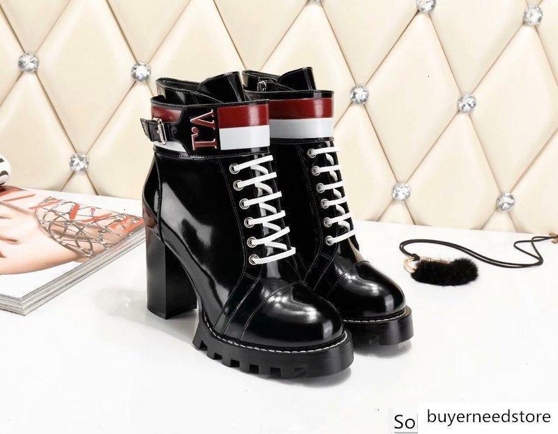 Kadınlar Harf Toka Baskı Yüksek topuk ayakkabı İnek deri ÖDÜLLÜ platformu kum çizme 1A4FDW