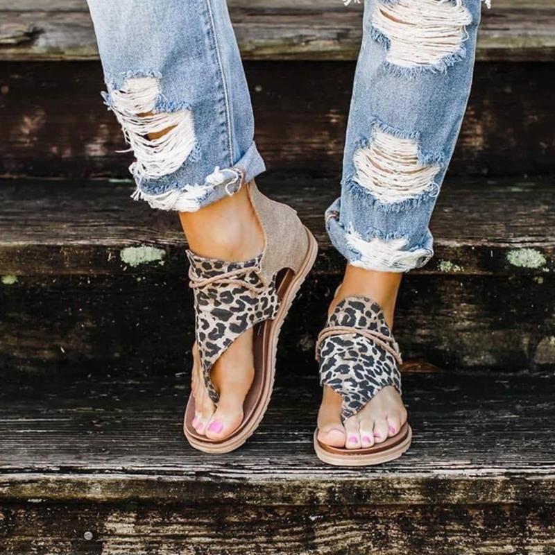 Non Slip cinghietti suola molle Open Toe piana di modo tallone della spiaggia di estate sandali sexy donne comode stampa floreale CS06 PU artificiale