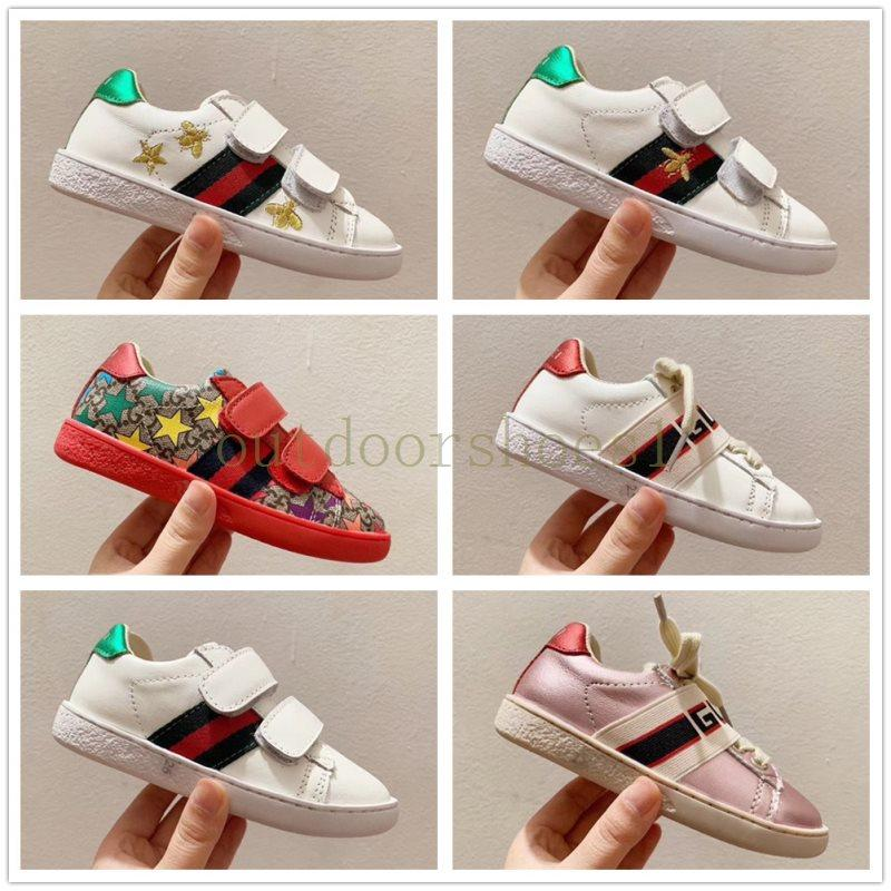 Infant BEE Kids Casual shoes Leather children Small boy girl baby outdoor sneakers Preschool Trainers Vintage Star Stripe Flats size 24-35