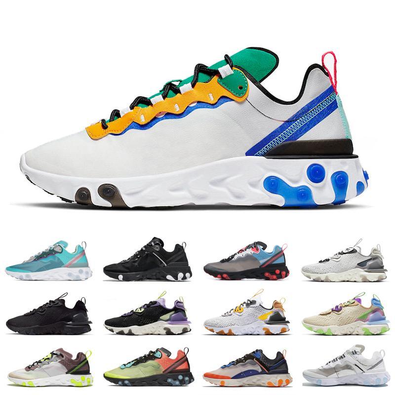 Vente chaude Honeycomb femmes Bred hommes chaussures de course React vision Element 55 87 Femmes Hommes escompte chaussures respirantes de sport en plein air de taille 36-45