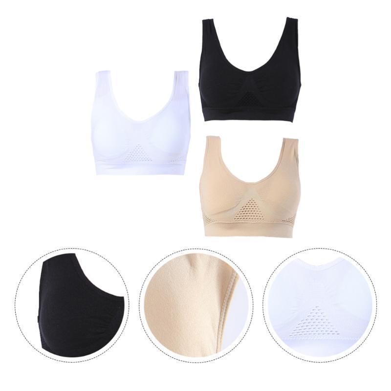 3Pcs Moda Sport Bra antiurto intima intimo Yoga Vest per Running Sport Taglia M (nero, bianco, colore di pelle)
