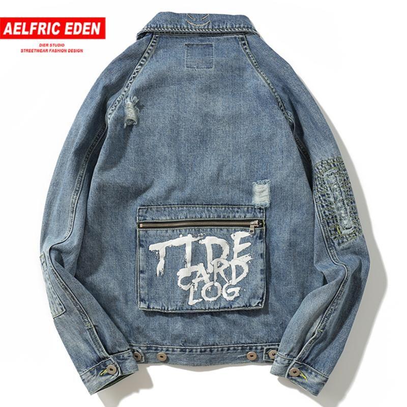 Эльфрик Eden Letter Printed Лоскутная Карманы мужские джинсовые куртки Harajuku Hip Hop Vintage длинным рукавом моды Streetwear ветровки