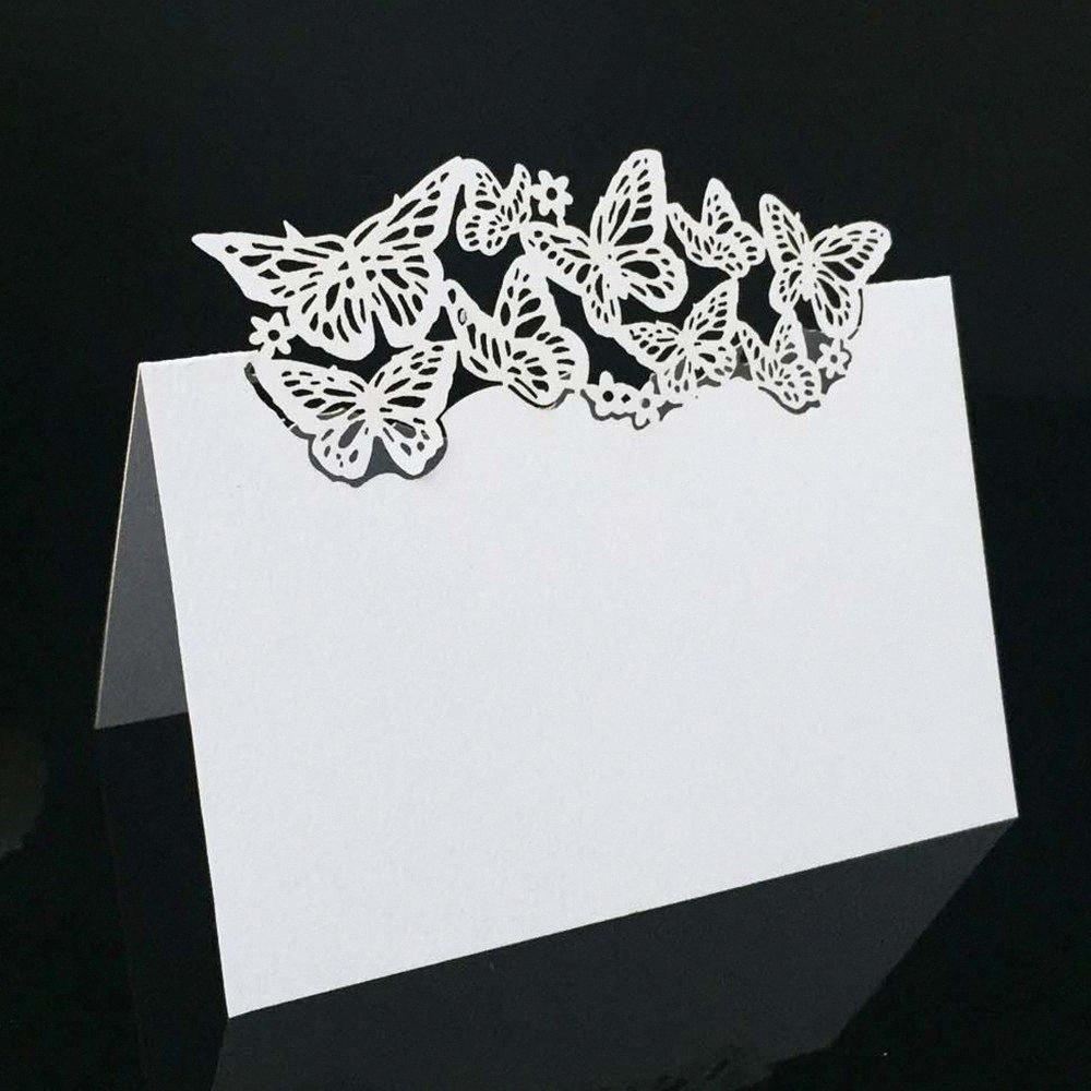 50pcs de la mariposa Asientos invitación de la boda Tarjeta de la tabla hueco Tarjeta del blanco del corte del laser invitaciones de la boda de papel del anuncio Qc7H #