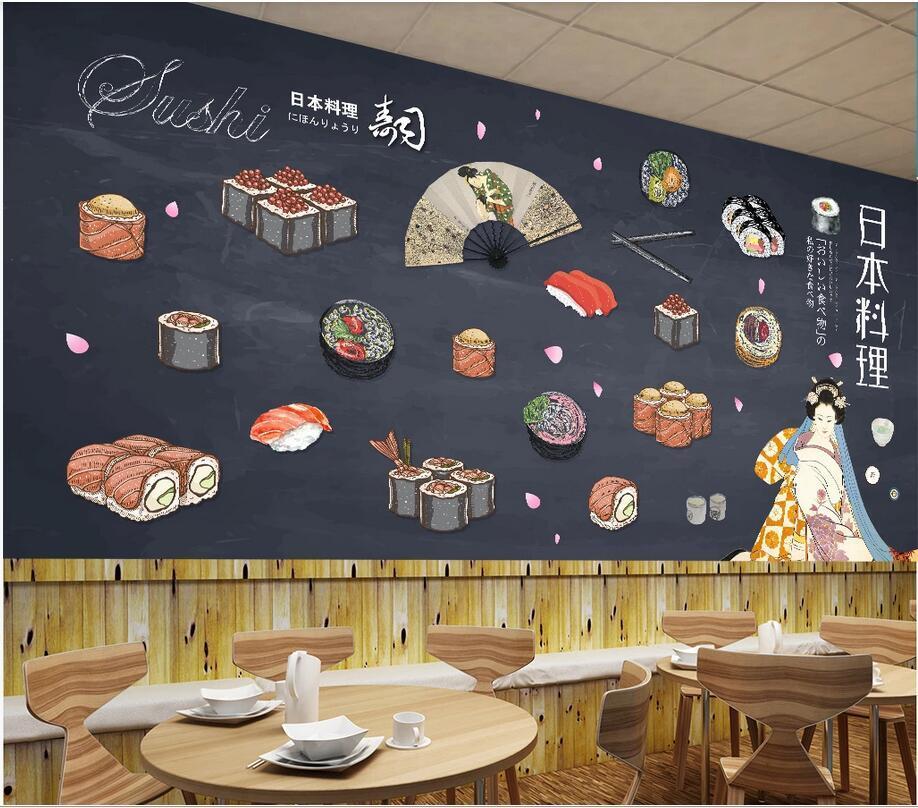 3d fondo de pantalla personalizado mural fotográfico restaurante de sushi comida japonesa lado de la pared fondo pintado mural en la pared del hogar pared del arte en imágenes