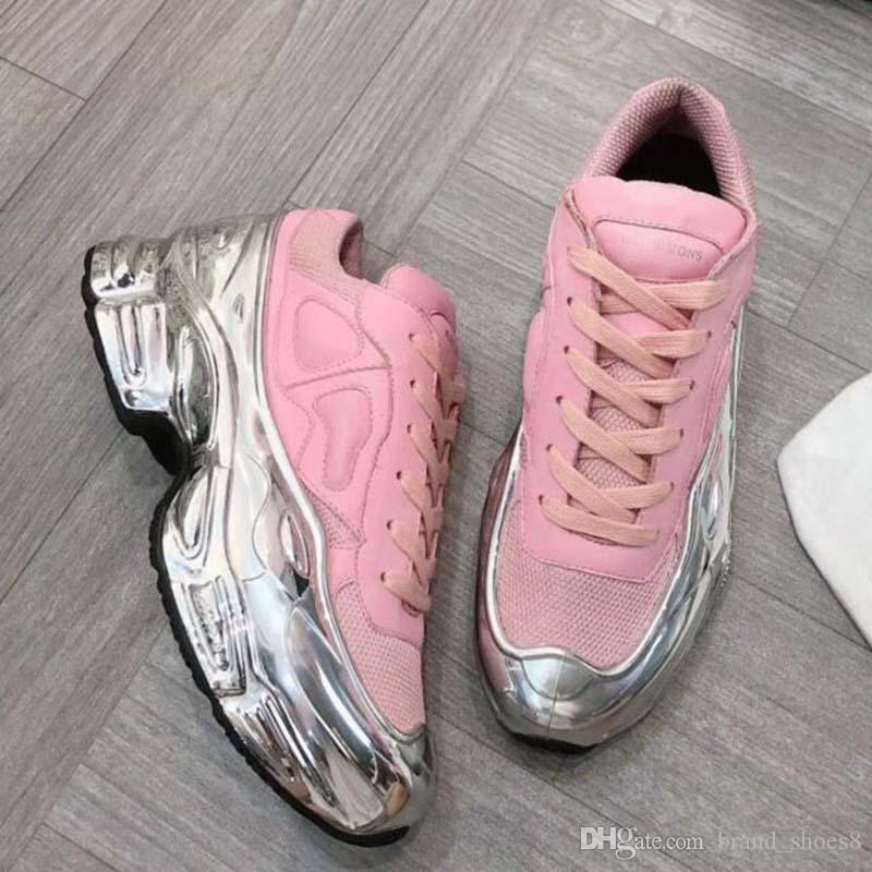 Zapatillas de deporte zapatilla de deporte de gran tamaño Raf Simons Ozweego hombres zapato casual zapatos de las mujeres en efecto metálico de plata del Sole Deporte Entrenador OO1