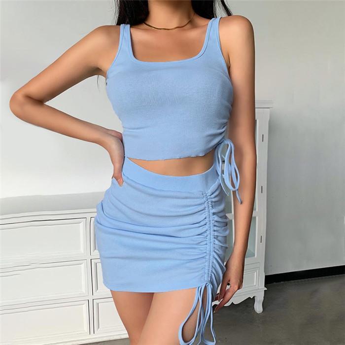 High Street para mujer de dos piezas de depósitos de mangas con cordón vestido delgado de la cadera Tops y mini vestidos de moda de las mujeres conjuntos de 2 piezas