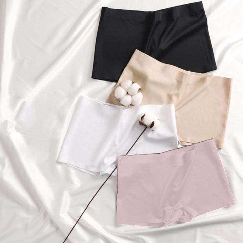 Été solide sécurité à court Boxer sous-vêtements féminins filles sans couture peau Boyshorts soie pantalons confortables femmes culottes en nylon
