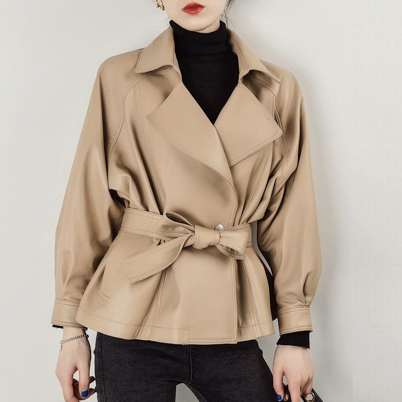 Autunno inverno del cappotto di pelle Donne Solid Sashes lungo-manicotto di PU Breve cappotti eleganti femminili nuove signore coreane rivestimenti di modo