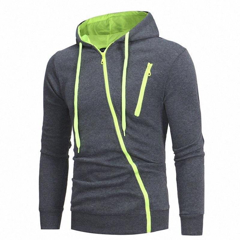 Oblique Zipper GYM Active Casual Manteau Sweat à capuche pour hommes Hoodie Cardigan Fashion Slim Jacket Outwear hommes Top Veste Types Fl fdKA #