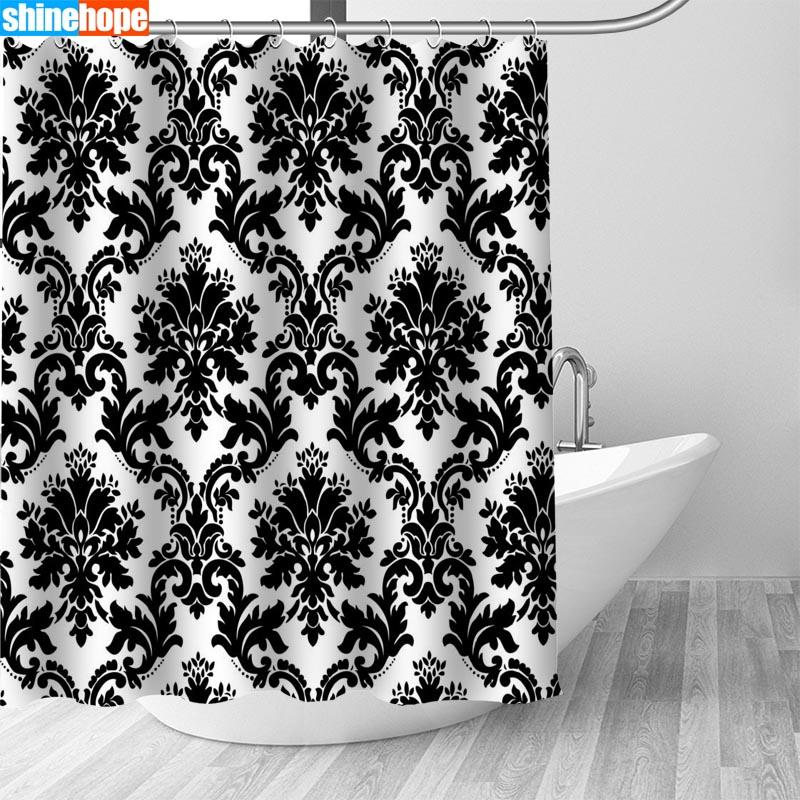 Nordic Bilder Polyester Wasserdicht Schwarz-Weiß-Muster Duschvorhang 180X200cm Qualitäts-Bad Vorhang im Badezimmer