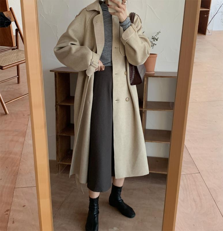 New Elegant Autumn Winter Faux Wool Coat Women Windbreaker Long Outerwear Belt Woolen Coat Trench Female
