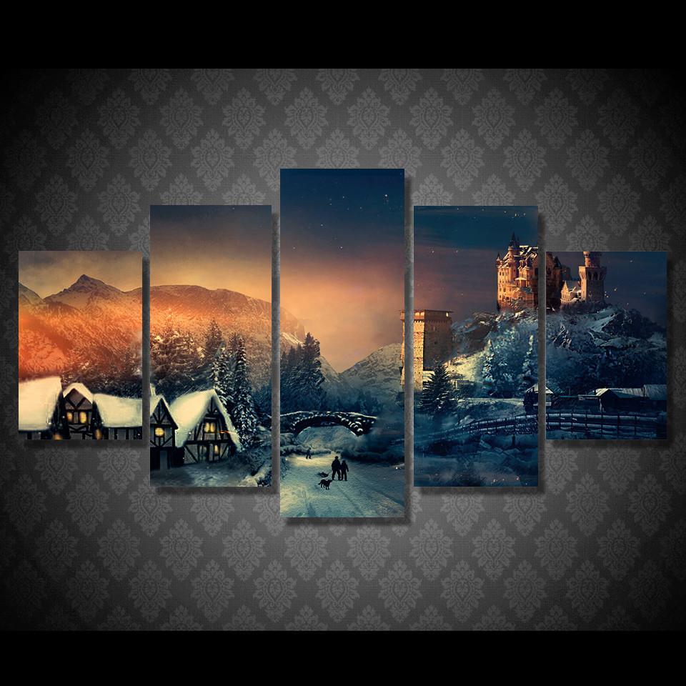 Canvas Wall Art Pictures Frame Kitchen Restaurant Decor 5 Pieces Christmas Winter Village Ski Landscape HD Print Poster Painting