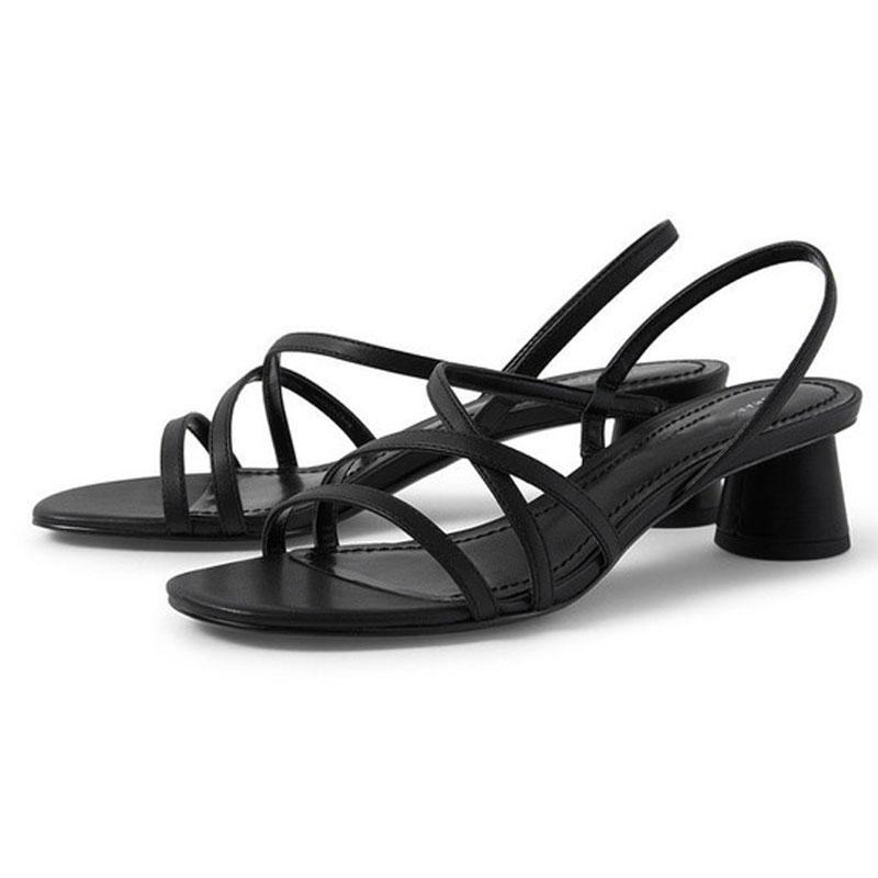 GENSHUO الصيف صندل المرأة ميد الكعب الصنادل مكتنزة كتلة كعب اسود Slingback المفتوحة تو أحذية صندل لحزب اللباس الرسمي