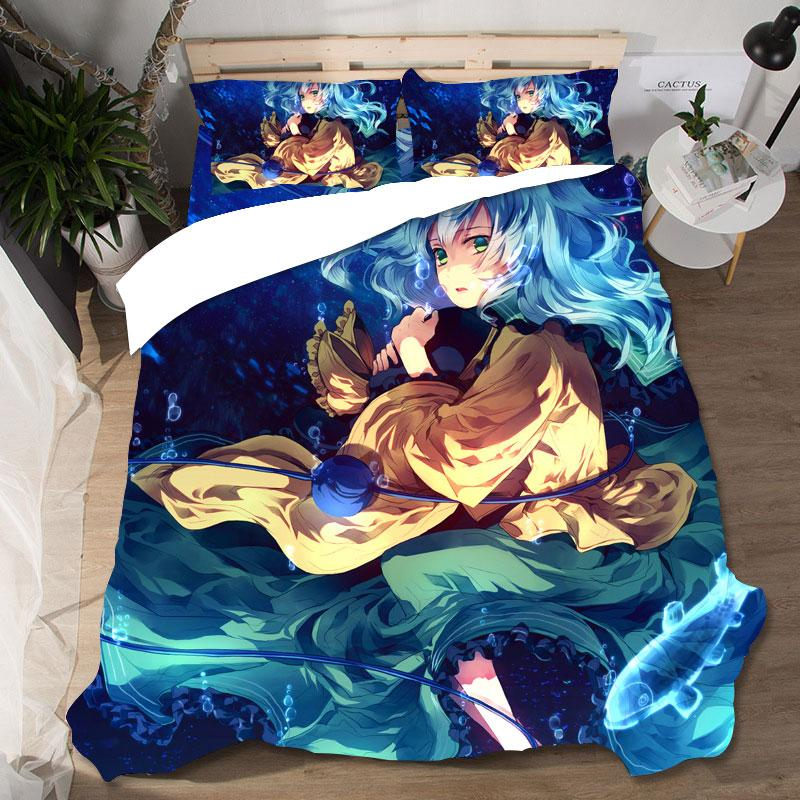 High Quality Anime Cute Girl Koishi Komeiji Printing Bed Set Bed Pillowcases Home Textile Lovely Printing Couple Queen King Size
