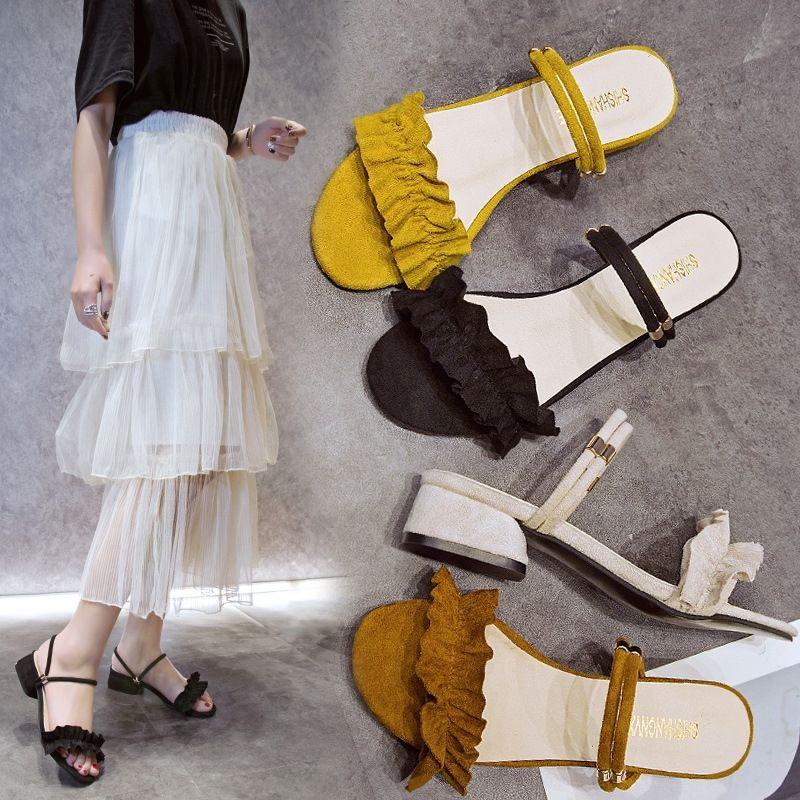 2019 verano baja la primavera de encaje y sandalias nuevas de dos desgaste de las sandalias del cordón del estilo de la moda coreana de las mujeres talón grueso ocasional al aire libre y el talón 2UDlB