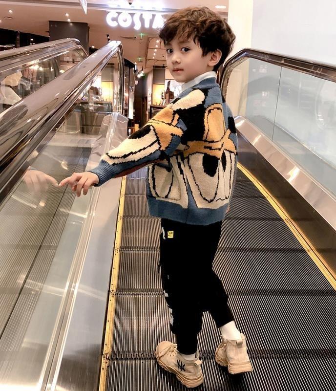 7WSA6 Çocuk giyim erkek kazak ceket sonbahar ve kış 2019 yeni ceket triko batı tarzı bebek hırka çocuk triko Kore