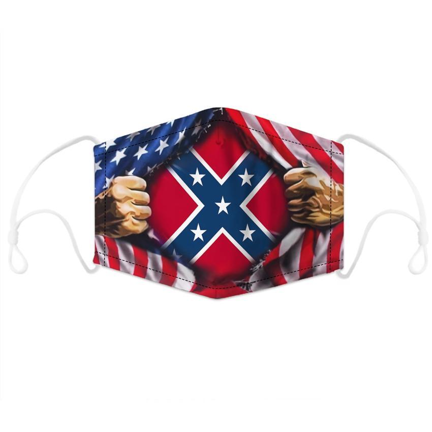 Confédéré Drapeau Masque antipoussière Bataille Etats-Unis Drapeau du Sud Masques bouche Masques Drapeau Guerre civile Lavable réutilisable coton Visage CYZ2578