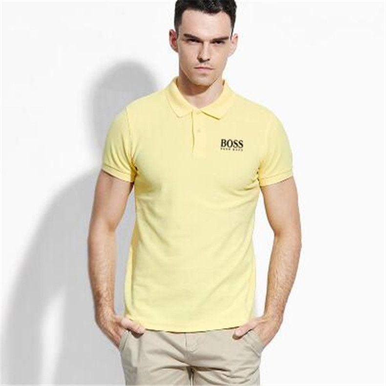 mens tuta primavera e l'autunno nuovo a maniche lunghe T-shirt per gli uomini perdono camicia di polo grande cotone dimensioni bavero per gli uomini BOSS puro