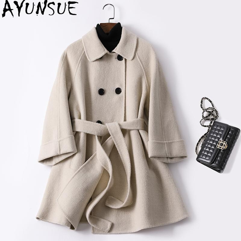 2020 Double Breasted Wool Coat Female Autumn Jacket Korean Woolen Coat Women Clothes Coats and Jackets Women Overcoat 9978 KJ