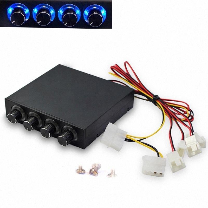 2020 2020 New PC 3,5 pouces HDD 4 Speed Channel Fan Controller Avec Bleu / Rouge LED contrôleur du panneau avant pour d'ordinateur KS6V #