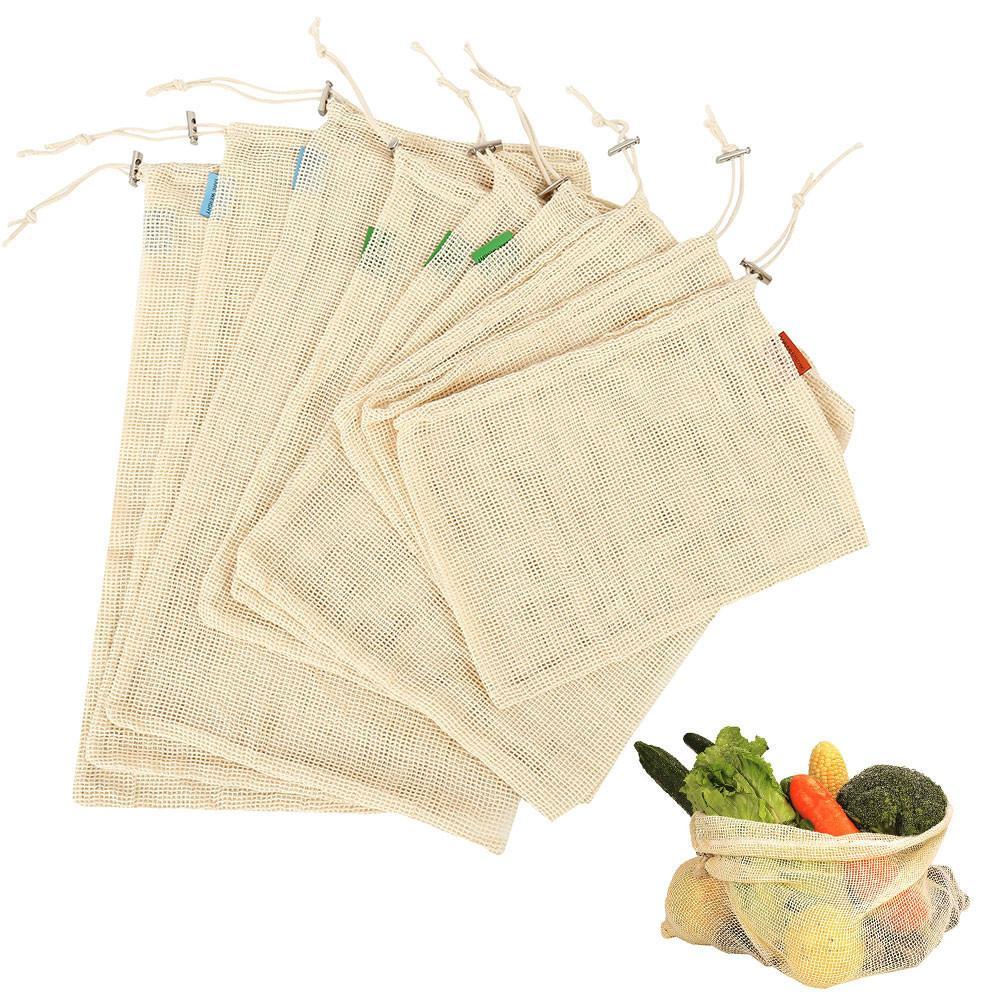 9 pcs / set Cotton Malha legumes sacos de armazenamento para cozinha Eco-friendly Fruit Grocery Organizador reutilizável lavável saco de compras C19030201