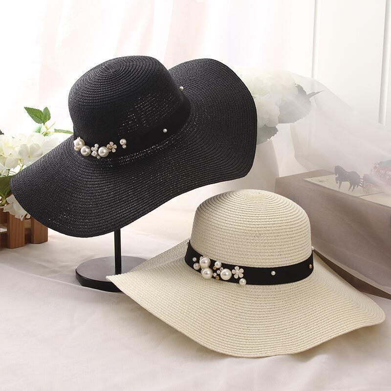 2019 Hot Sale Round Top Raffia Wide Brim Straw Hats Summer Sun Hats for Women With Leisure Beach Hats Lady Flat Gorras Y200716