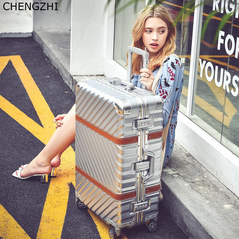 CHENGZHI Vintage Rolling luggage spinner suitcase wheels aluminum frame trolley travel bags men women carry on luggage CX200718
