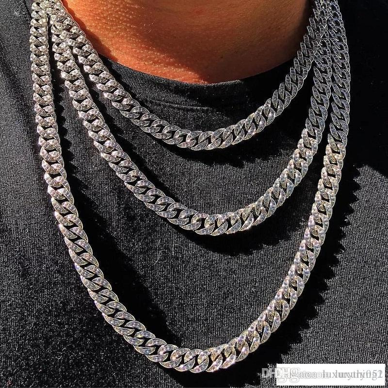 Cadeia para fora congelado Chains Hip Hop Jewelry Men Bling Rhinestone Cristal Diamante, Ouro, Prata Miami cubana Fazer a ligação Mens Colares Jóias
