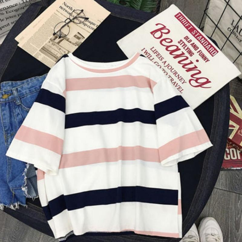 MISSKY 2019 Nueva Mujer camiseta del cortocircuito del verano cami-manga corta cuello redondo Tops camiseta a rayas ropa femenina MX200721