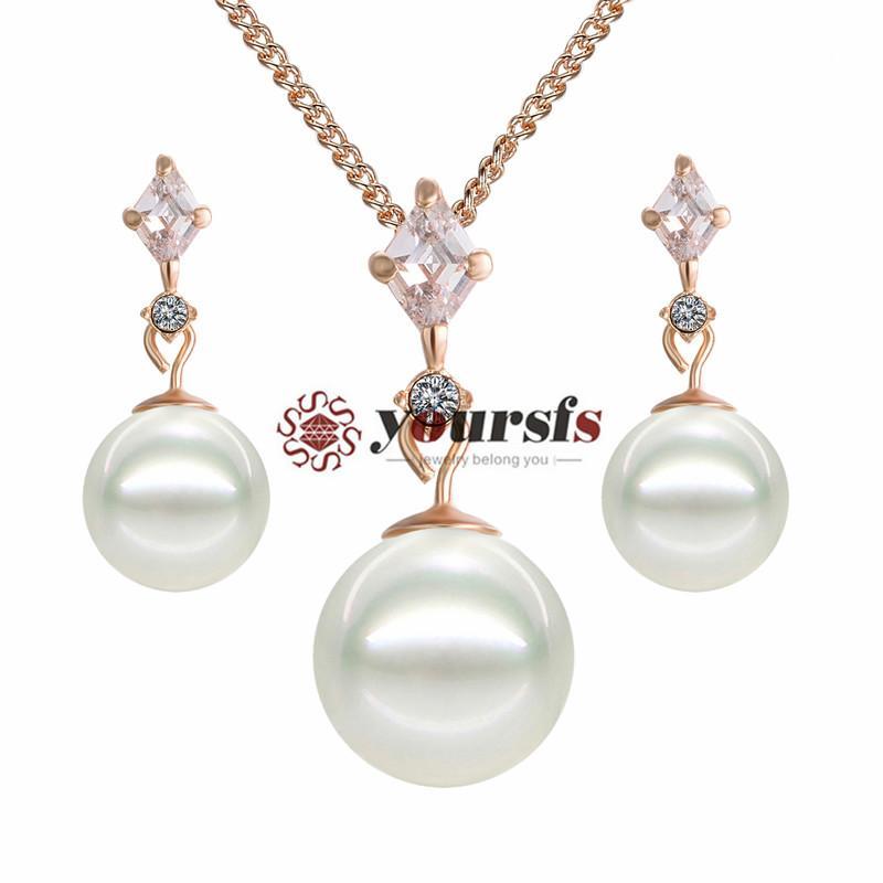 Yoursfs 18k rosa banhado a ouro lançado pérola colar e brinco de aro usar conjunto de jóias de cristal austríaco