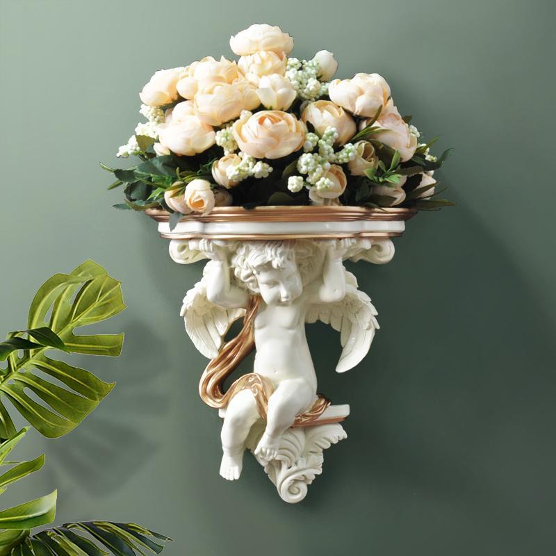 Início parede decorativa Flores Artificial Shelf Pendart Art Hanging Resina Mural Craft Wedding Sala Oornaments parede do vaso