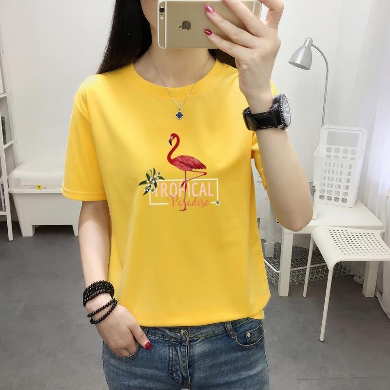 AhiKz roupas 2020 Verão estilo coreano de algodão de manga curta t-shirt moda feminina grande Top Coat T-shirt top roupas 7 colo do tamanho das mulheres