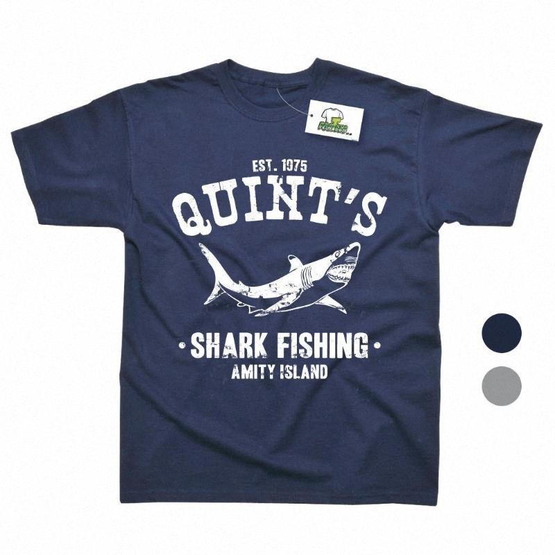 Quints pescado por las mordazas de la película camiseta impresa de 2 colores Tee 100% algodón cuello redondo Hombres Humor Tee Shirts imprimir T Shirts Ithe #