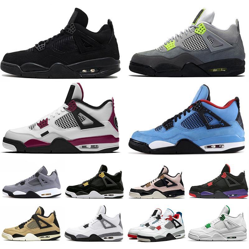 2020 alas de la manera 4s 4 limo rojo lo que los zapatos de baloncesto de los hombres de las mujeres del gato Negro blanco cemento fresco Bred para hombre de las zapatillas de deporte gris