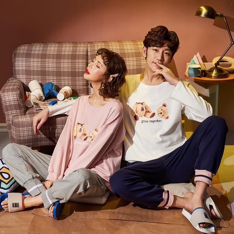 IHe2E Coppia pigiama di cotone estate Maglia a manica lunga abito coreano vestiti primaverili stile carino casa arredamento abbigliamento autunno sottile e aydd1 f