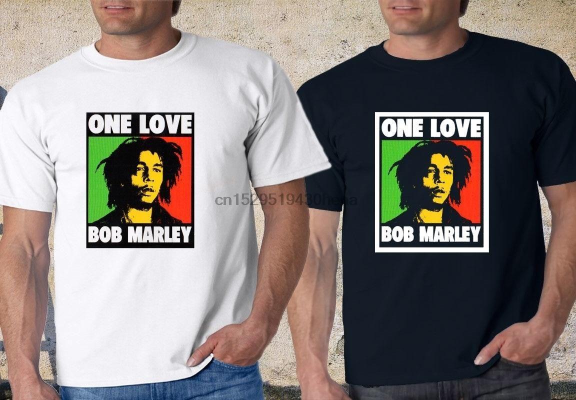 Горячей Продажа Bob Marley One Love Rasta Graphic Black Футболка Мужчины Хлопок футболка