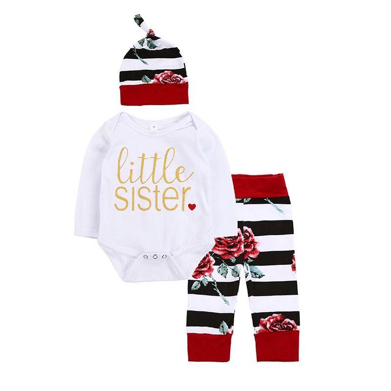 INS nuovi disegni infantili delle ragazze dei neonati pagliaccetti dei vestiti Lettere manica lunga + pantaloni del fiore + Cappelli 3pieces bambini del cotone che coprono insieme