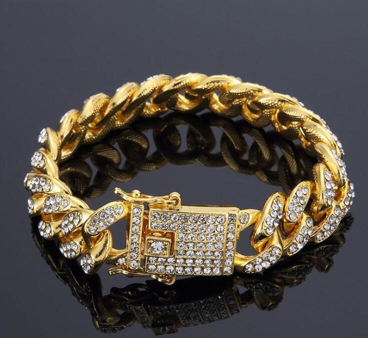 Mens Hip Hop золотые браслеты ювелирные изделия Имитация Алмазный Iced Out цепи браслеты Майами кубинский Link Chain Браслет