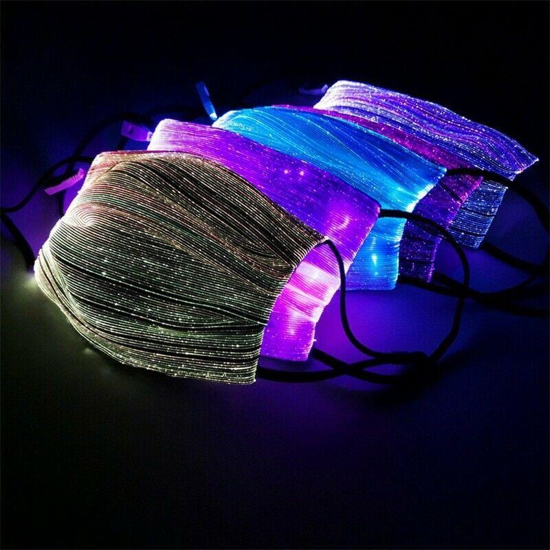 7 máscara de cor LED Lumions Fiber Alterar Máscara protectora da RGB Luz Com PM2.5 Filtro Pad Carnaval do partido do disfarce LED fibra óptica Máscara CCA12321