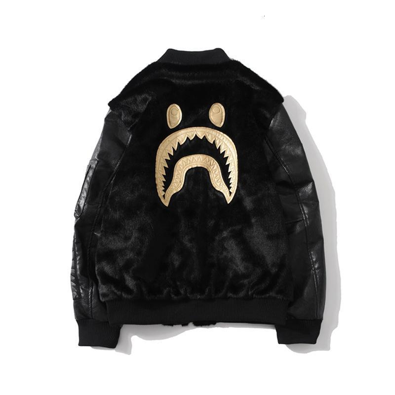 2019 nova marca de moda preto bordados de ouro tubarão peludo gola do revestimento do revestimento dos homens e das mulheres
