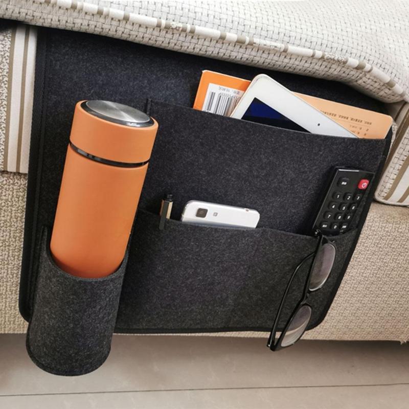 Bedside Storage Bag Felt Bed Sofa Pocket Phone Hanging Storage Organizer Water Bottle Holder Organizer Bed Holder Pockets