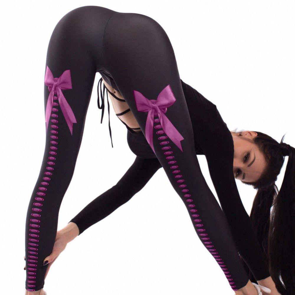 Mulheres cintura alta Sports Yoga Pant Gym Bow Digital Impresso Leggings Hip Lifter Elastic Workout Atlético Leggings justas calças wiX1 #
