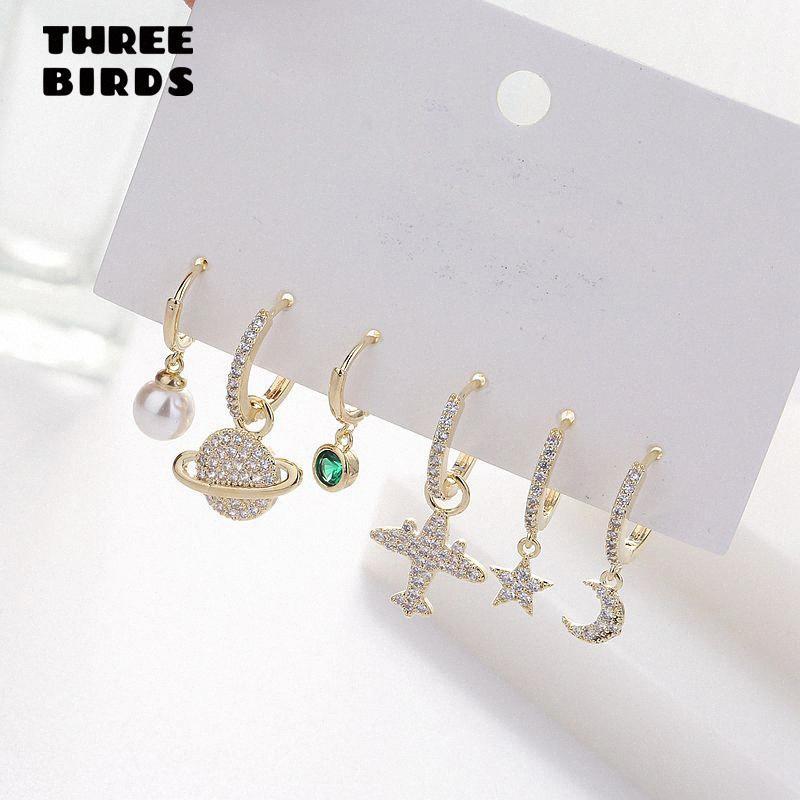 Fashion Plane Moon Star Pearl Cute Earrings Sets Personality Luxury Hoop Earings Set For Women Fashion Jewelry 2020 aretes Mly6#